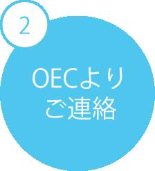 ご予約~無料体験レッスンの流れ 2 OECよりご連絡 ご希望の方法(TEL・メール)にてOECよりご連絡